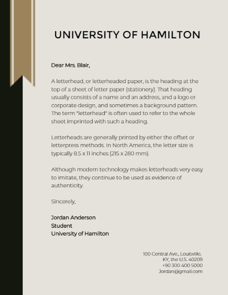 University Letter