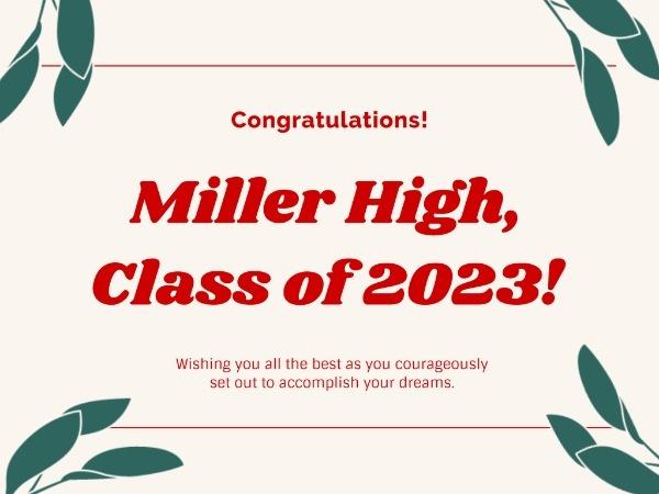 Simple White High School Graduation Card