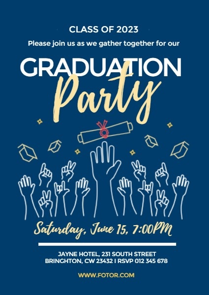 Blue Graduation Party Invitation