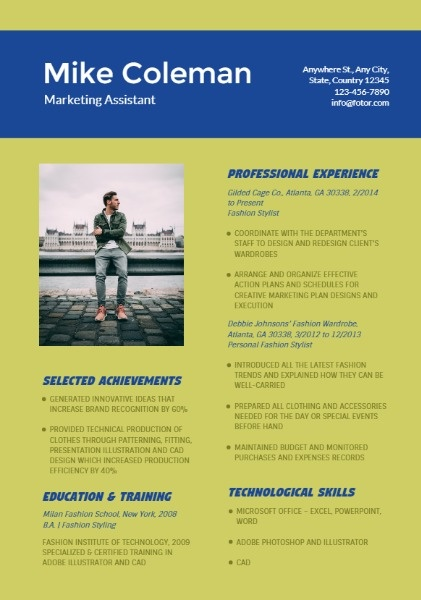 Marketing Assistant Green Blue Resume