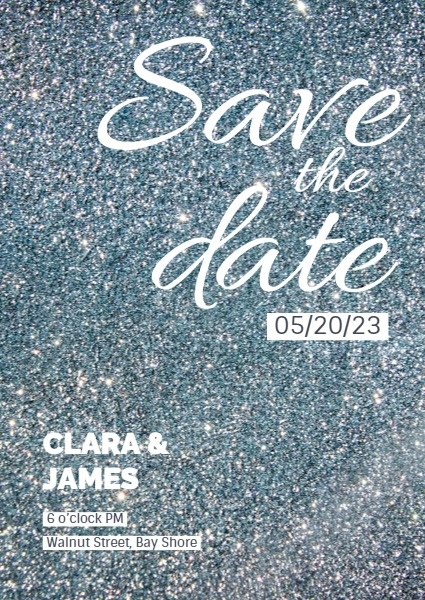 Silver Glitter Save The Date Invitation