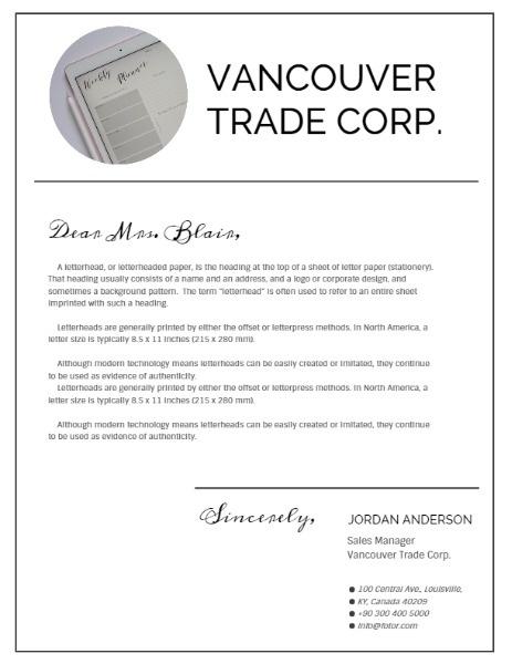 White Company Letterhead
