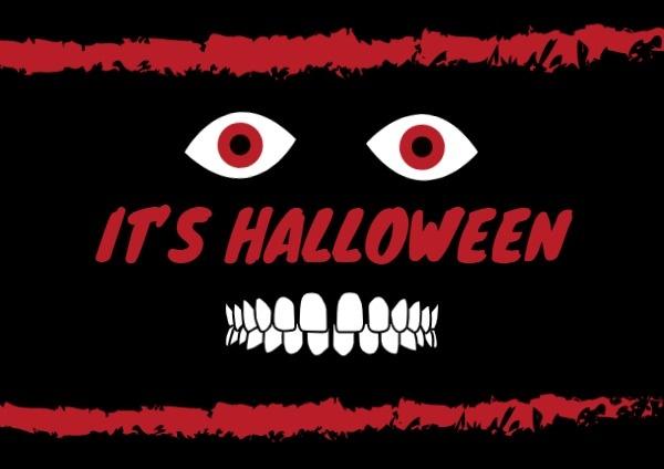 Scary Black Halloween Card