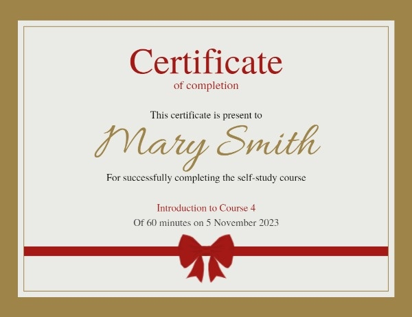 Golden Course Certificate