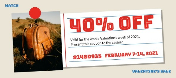 Red Valentine Sale Gift Certificate