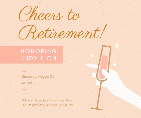 online retirement party facebook post template fotor design maker