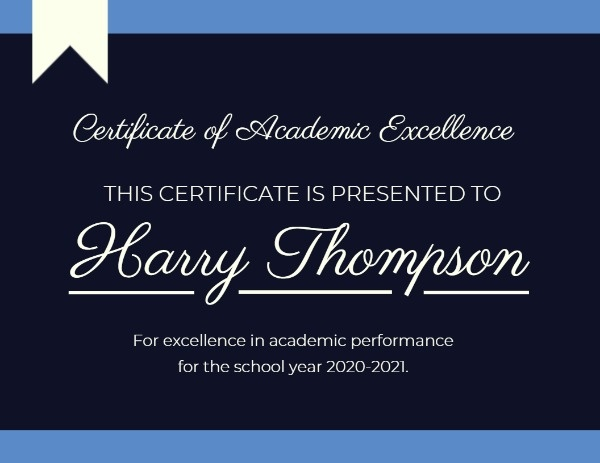 Blue And Black Certificate Of Academy Excellence