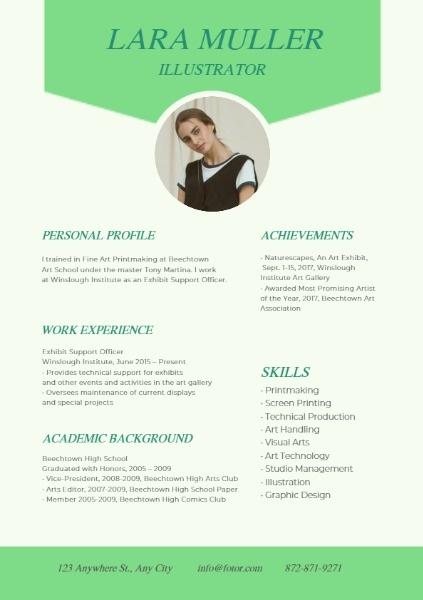 Illustrator Green Resume
