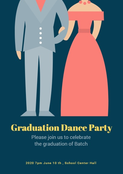 Navy Graduation Prom Invitation