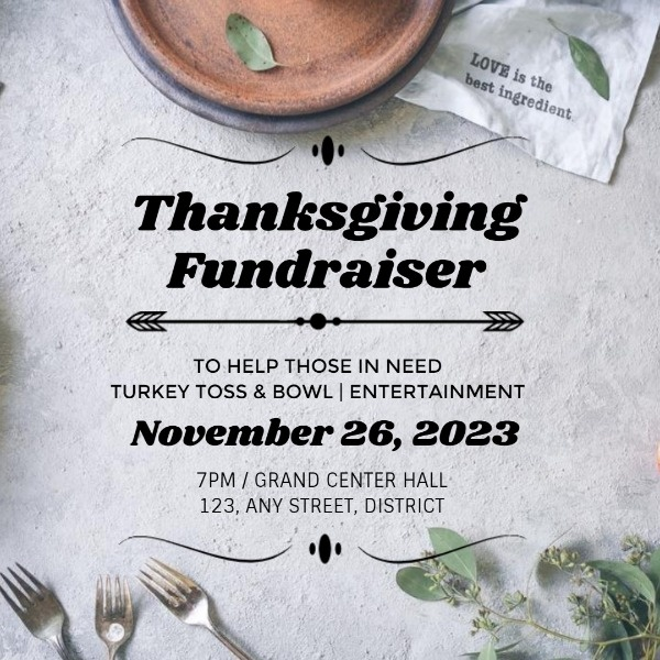 White Simple Thanksgiving Fundraiser