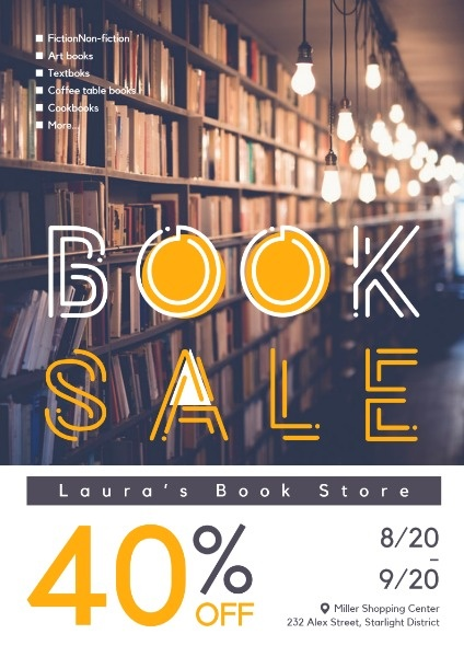 Book Store Discount Poster Template