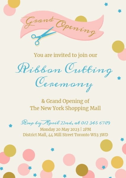Pink And Yellow Grand Opening Cutting Ribbon Invitation