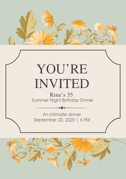 Leaves Birthday Invitation