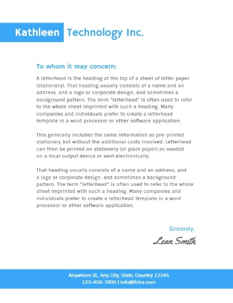 Simple White And Blue Company Letter