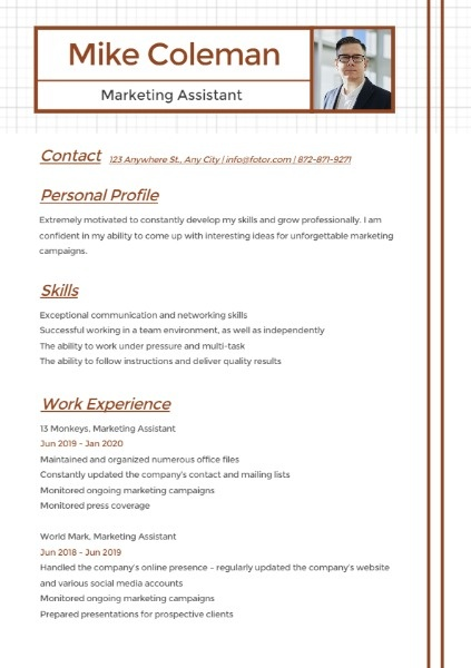 Marketing Assistant Lattice Simple Resume