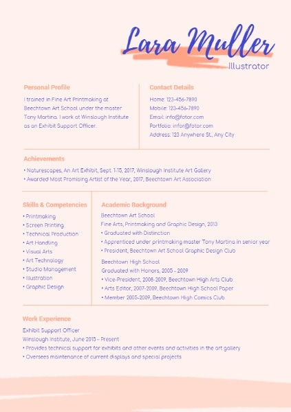 Illustrator Pink Art Resume