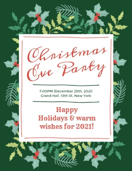 Green Christmas Eve Party Program