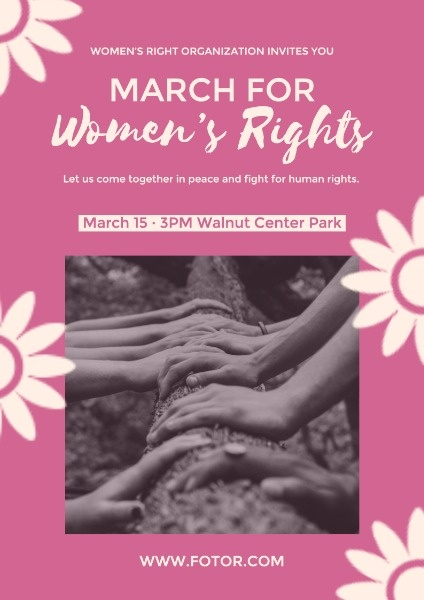 Pink Women's Rights Floral Poster
