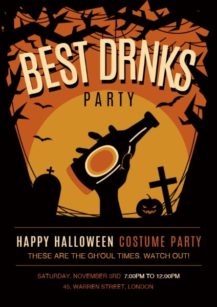 Online Beer Halloween Costume Party Flyer Template Fotor Design Maker