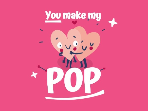 Pink Heart Pop Valentine's Day
