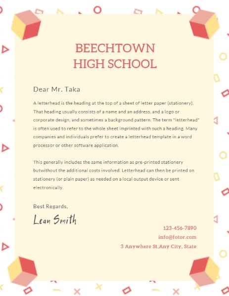 Private High School Letter
