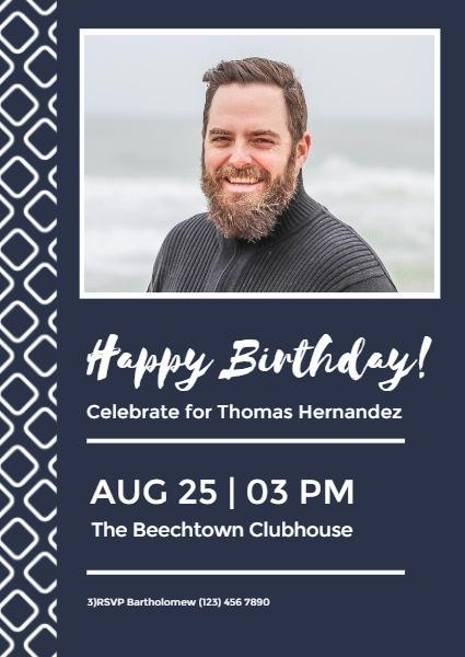 Dark Blue Father's Birthday Invitation