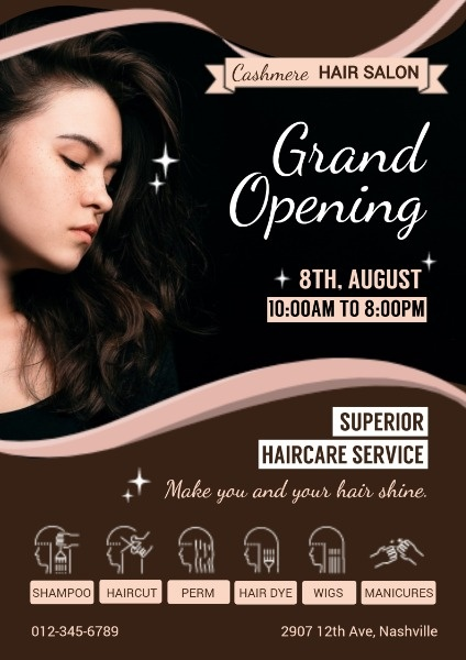 Online Hair Salon Grand Opening Poster Template Fotor Design Maker