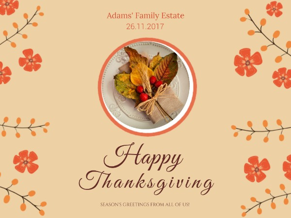 Autumn thanks giving party invitation
