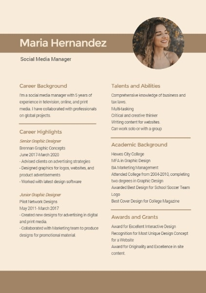 Social Media Manager Brown Retro Resume