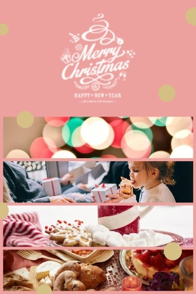 Pink Background Of  Christmas Warm Collage