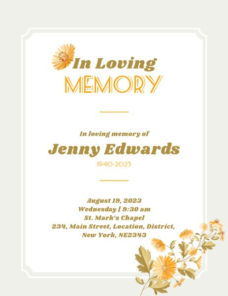 Yellow Floral Funeral Program