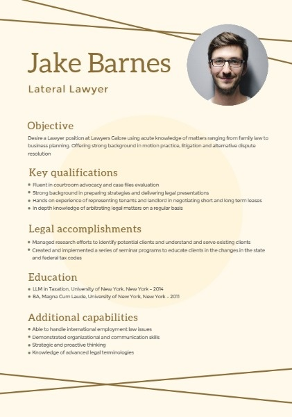 Lateral Lawyer Simple Resume