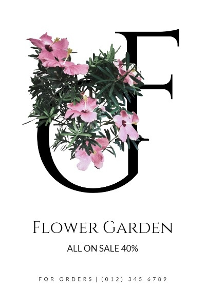 White Background Of Flower Store Sale
