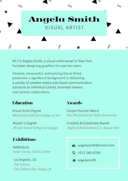 Online Visual Artist Resume Template Fotor Design Maker
