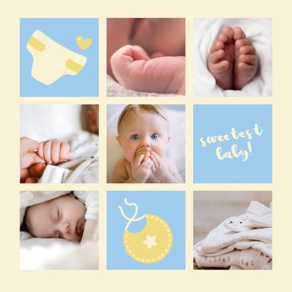 Blue Baby Cute Collage