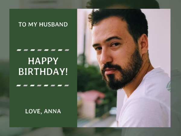 Simple Green Husband's Birthday Card