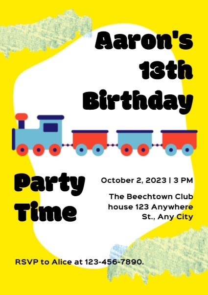 Yellow Train Kid's Birthday Invitation
