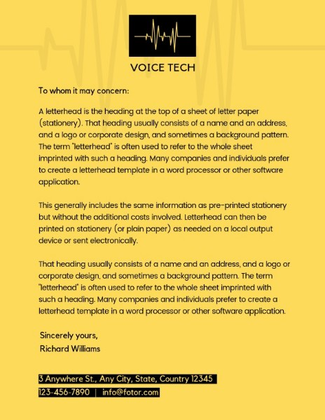 Yellow Voice Tech Greeting Letter