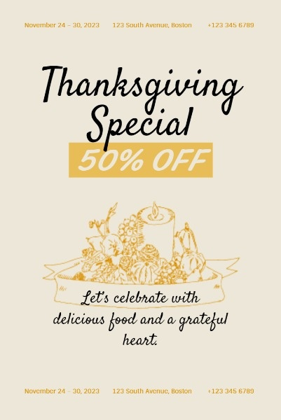 Thanksgiving Restaurant Special Offer