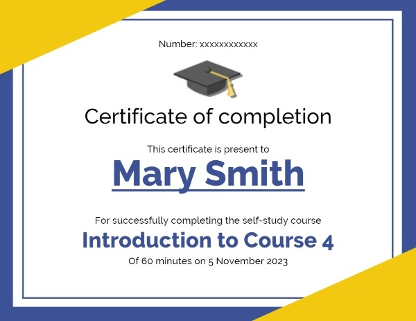 White Certificate Of Completion