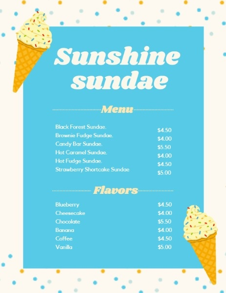 Sunshine Sundae Blue Menu