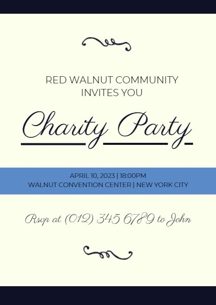Blue And Yellow Charity Party Invitation