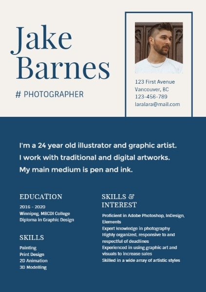 Blue Photographer Resume