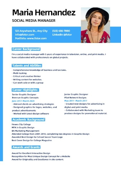 Social Media Manager Simple Resume
