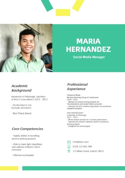 Social Media Manager Green Yellow Resume