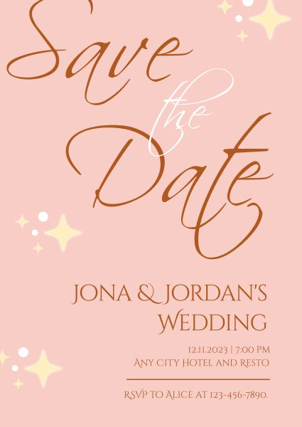 Shiny Pink Save The Date Wedding Invitation
