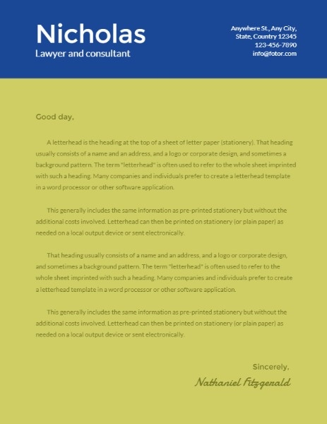 Blue And Green Lawyer And Consultant Letterhead