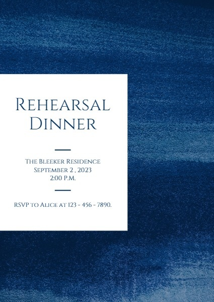 Blue Rehearsal Dinner