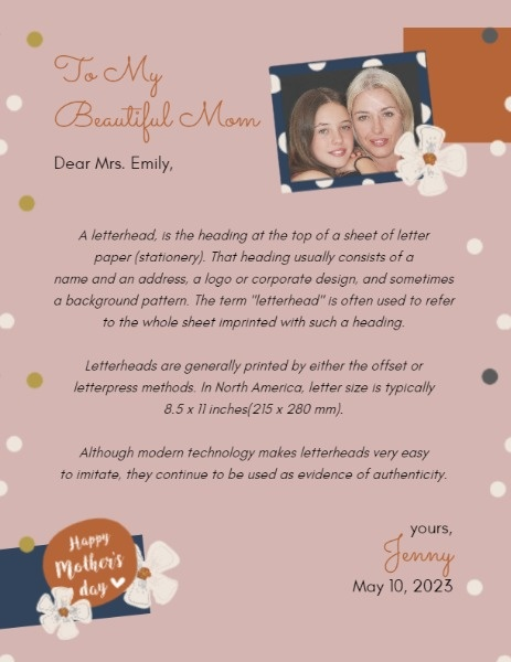Mother's Day Letterhead