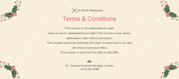 Online Merry Christmas Restaurant Gift